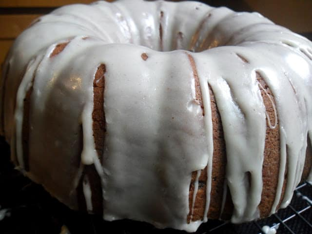 Banana Bundt Cake with Maple Rum Butter Glaze