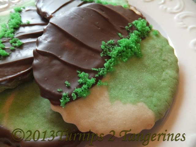Mint Sugar Cookies Dipped in Chocolate