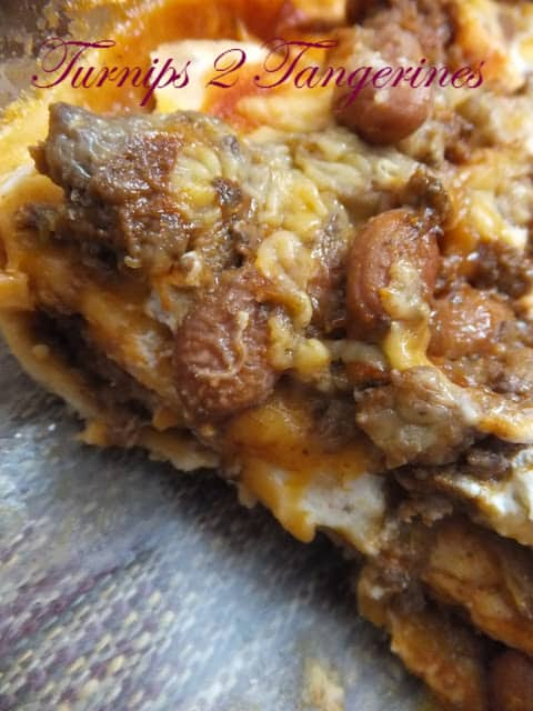 Bean and Beef Enchilada Bake