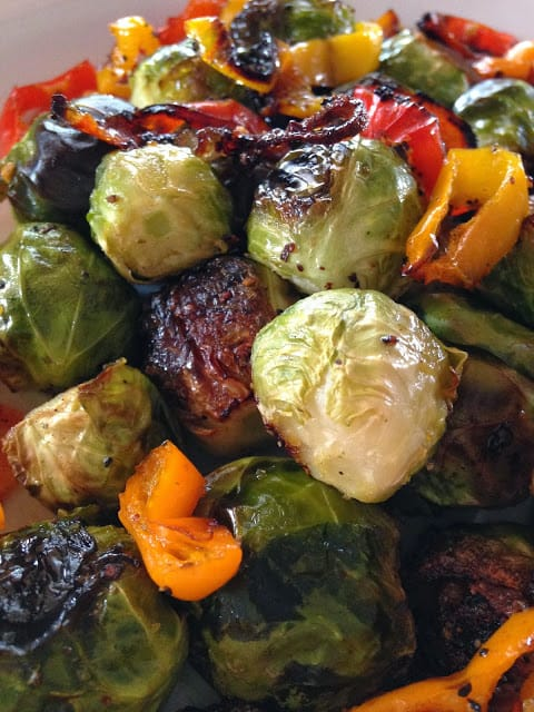 Roasted Brussels Sprouts with Mini Peppers
