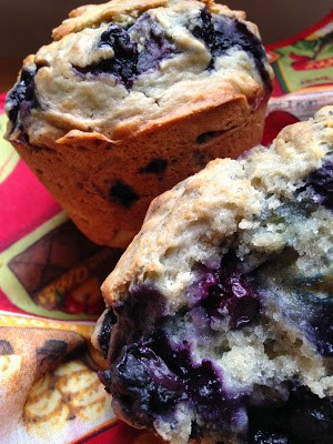 sourdough blueberry muffins