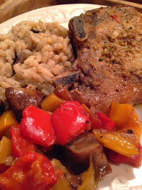 Pork Chops with Mushroom Risotto