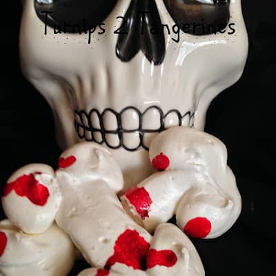 Spooky Meringue Bones with Blood