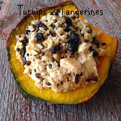 Brown Rice Medley, Blueberry and Chicken Stuffed Squash