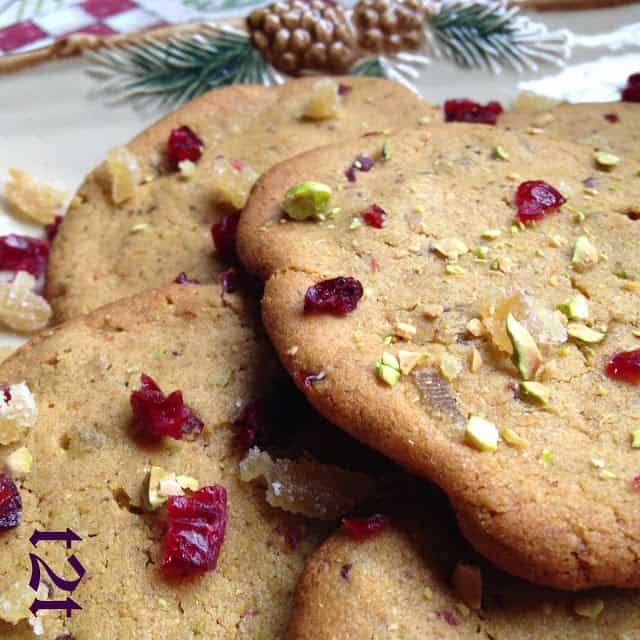 Pistachio Cranberry Crystallized Ginger Cookies
