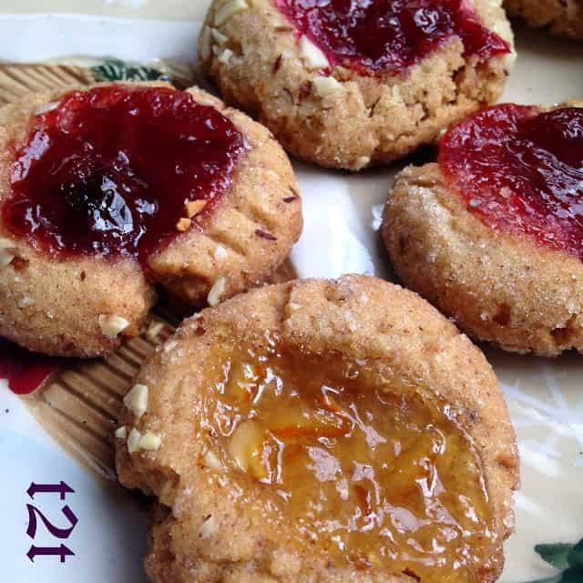 Jeweled Almond Thumbprint Cookies