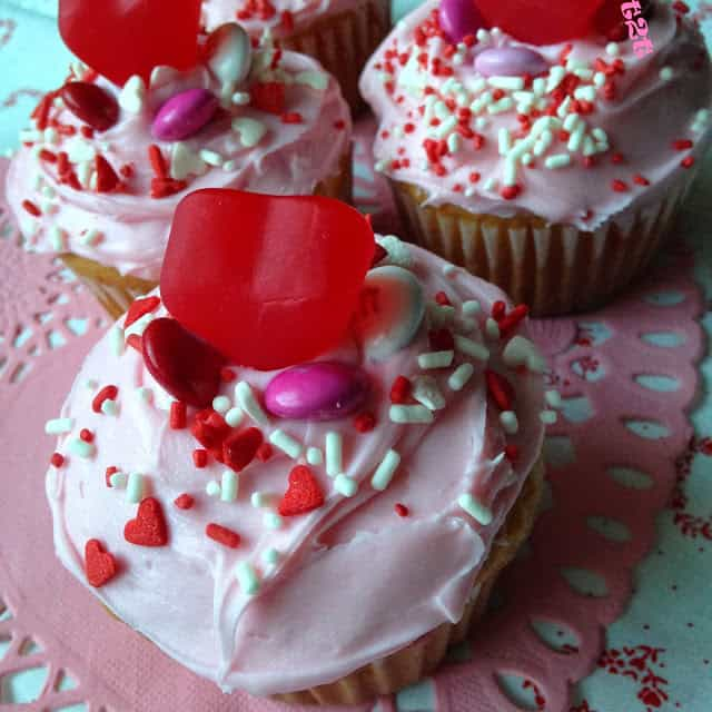 Cream Filled Valentine Funfetti Cupcakes