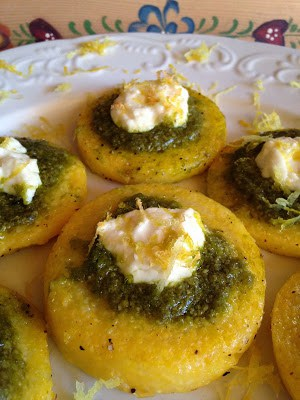 pesto and goat cheese