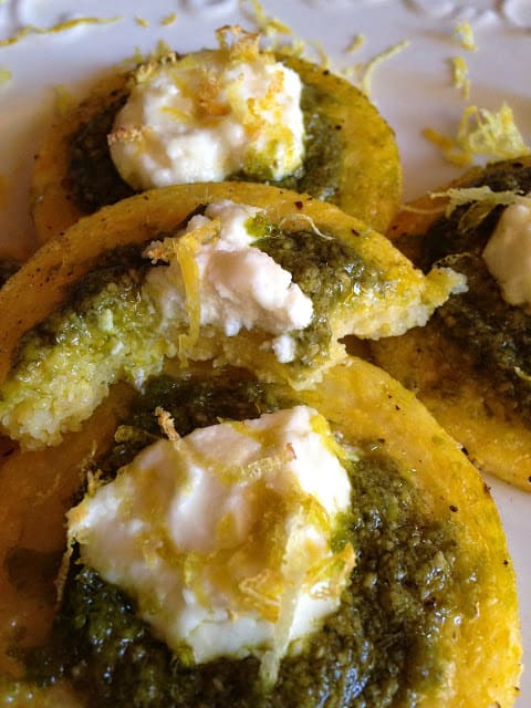 Pesto and Goat Cheese Polenta Bites