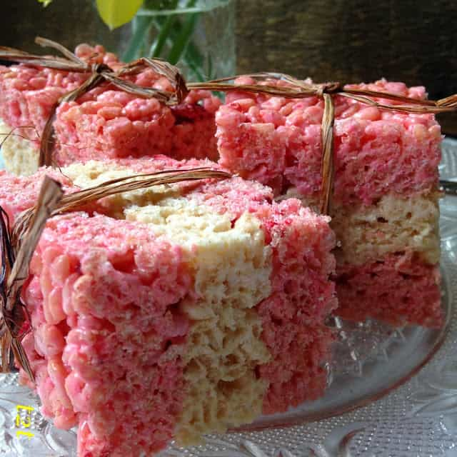 Strawberry Vanilla Rice Krispie Treats