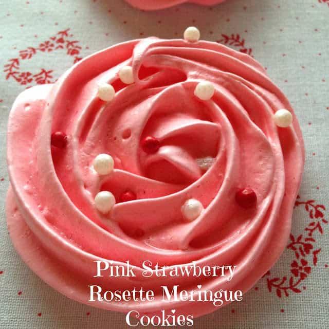 Pink Strawberry Rosette Meringue Cookies