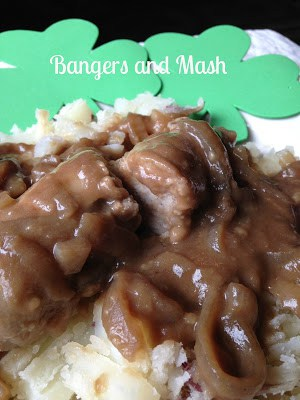 Bangers and Mash with Onion Stout Gravy