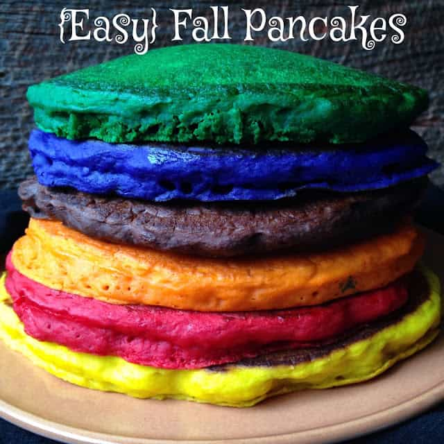 fall colored pancakes