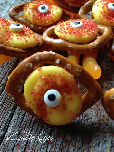 Zombie Chocolate Pretzel Eyes