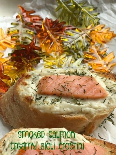 Smoked Salmon Creamy Aioli Crostini