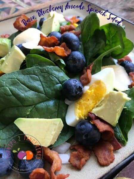 Bacon Blueberry Avocado Spinach Salad Turnips 2 Tangerines