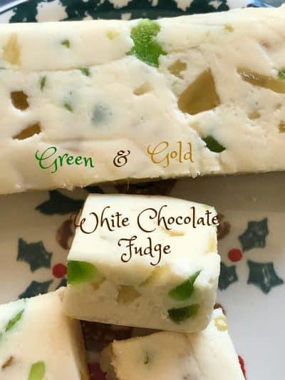 Green and Gold White Chocolate Fudge