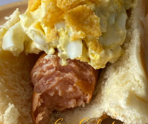 Egg Salad Topped Hot Dogs
