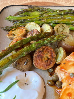 Rosemary Roasted Asparagus and Baby Potatoes